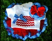 Patriotic Tutu Set Includes Sewn Ribbon Trim Tutu, Handmade Flag Onesie, and Boutique Hairbow. Fourth Of July Tutu, Homecoming Tutu Set
