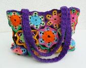 Upcycled crochet bag, Soda tabs purse, Mauve boho chic bag, Multicolor recycled handbag, Purple crochet tote, Colorful shoulder bag, Relaxed