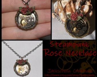 Steampunk Pendant Necklace with Roses