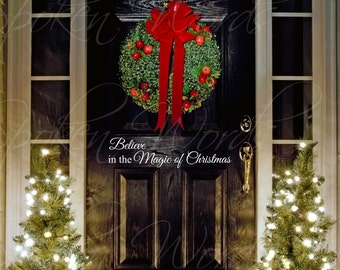 """Believe in the Magic of Christmas Vinyl Wall/Door Decal Merry Christmas....Your choice of color"""""""