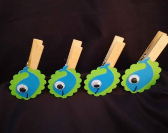 12pc Decorated Clothes Pins  Baby shower game Whales Ocean Preppy Under the Sea