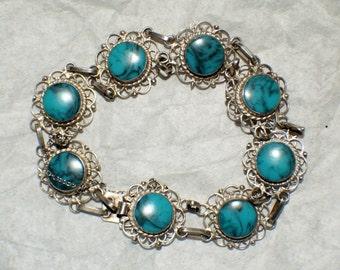 MEXICO PLATA BRACELET Sterling Turquoise c1950
