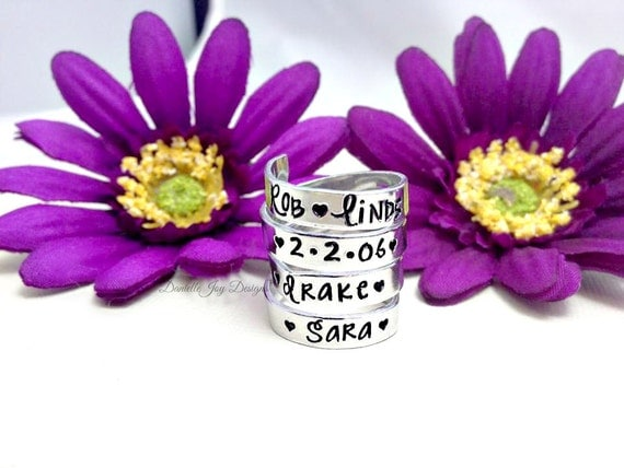 Hand Stamped Jewelry Personalized Jewelry Hand Stamped Aluminum Wrapped Personalized Custom Ring - 4 Wraps Layers