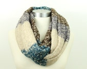 Color Block Knit, Blue and Brown,Infinity Scarf,Loop scarf,Winter Scarf