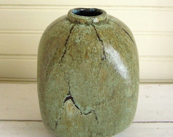 FRENCH ART POTTERY - Yellowish Green Vase with Aqua Undertones and Dark Brown Accents - Marked On the Bottom