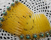 Silver and Turquoise Hair Combs