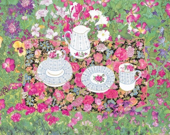 Garden Tea Party Watercolor, 12 Pack Fine Art Blank Greeting Cards, Assorted Lot