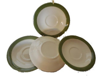Lot of 4 Coffee Saucers with a Green Stripe  FREE SHIPPING