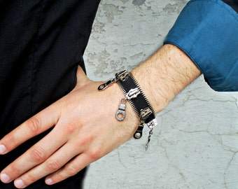 Mens steampunk bracelet, Zipper Bracelet, fashion for Guys, Mens Jewelry, unique and eccentric, black , with metal pulls, zipper design
