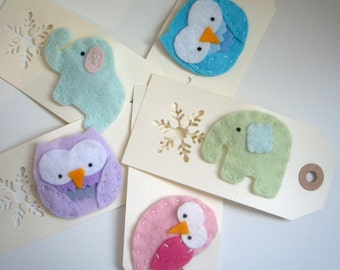 Gorgeous Gift Felt Elephant and Owl Brooches - in pastel colours, five options available.