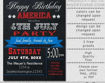 Printable Chalkboard Vintage 4th Of July Party Invitation Templates
