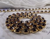 6mm Amethyst Rhinestone Cup Chain --- Gold Base Metal --- 1 yard (36inch)