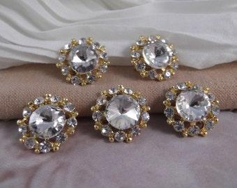 5 Round Crystal Rhinestone Small Brooch ~~~ Gold Base Metal ~~~ BROO6~5G
