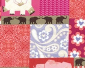 "LAST 26"" Remnant - Benartex Fabric - Bella Morocco - Bellissimo Persimmon Elephant Patchwork"