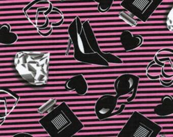 Benartex Fabric - Smooches - Glam - Pink/Black-Choose Your Cut 1/2 Yard or Full Yard