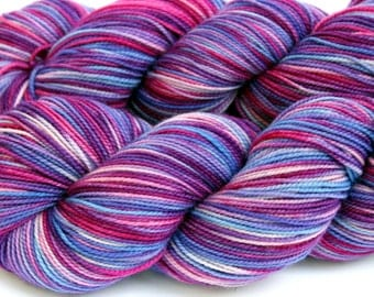 "Kettle Dyed Sock Yarn, Superwash Merino Fingering Weight, in ""Aster"""