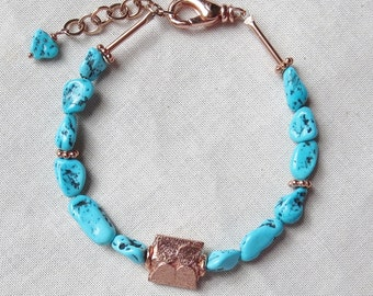 Arizona Untreated Turquoise and Copper Bracelet