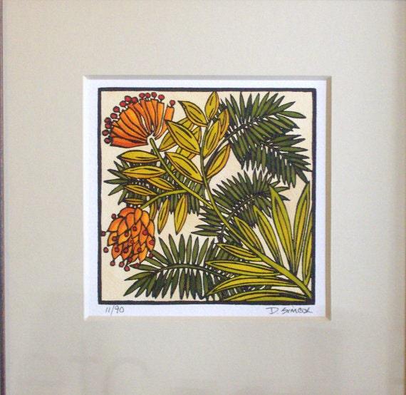 Items Similar To Linocut Craftsman Style Art Desert Bloom