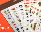 Cute Animals Diary Sticker Set - 6 Sheets,Forrest,Cartoon,Zoo,Food,Message