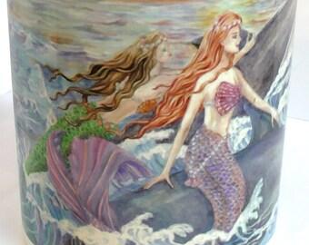 Ceramic Mermaids and Dolphins design 11oz Mug, light pink handle