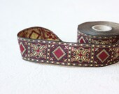 fabric ribbon, 33 mm diamond gold metallic  Jacquard ribbon, Embroidered border, Sewing trim,   diamond  Woven Border, Craft border