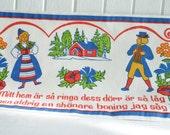 Printed wallhanging folk art motif, vintage Swedish retro seventies print, Swedish bonad
