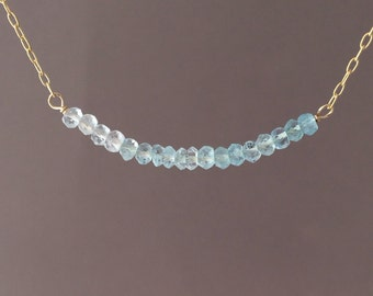 Blue Aquamarine Stone Ombre Beaded Necklace Gold, Rose Gold, or Silver