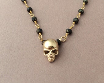 Gold Skull Black Spinel Necklace