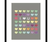 Printable Art - I Heart You (Grey) 8x10
