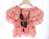 SUMMER CLEARANCE SALE  - Boho Beach Vivid Baby Pink Abstract Rose Bud Peplum Tube Top Blouse pastel candy