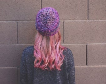 slouchy hat crochet with a soft variagated ombre purple yarn