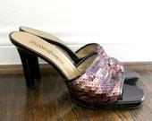 YSL Yves Saint Laurent Sequined Heels Mules Shoes Sz 10