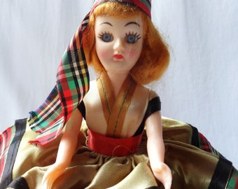 Doll from Scotland, Scotish Doll in Plaid Dress, Doll in Costume, Dolls of the World