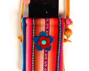 Handmade Women's Genuine Multicolored with Leather Applique Cellphone Case Bag or Purse