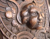 Antique salvage,French pediment,C.1870,carved wooden,winged cherub/putti panel-stunning-architectural salvage
