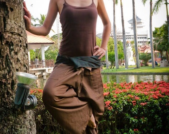Fisherman pants, Cotton, Brown --UNISEX