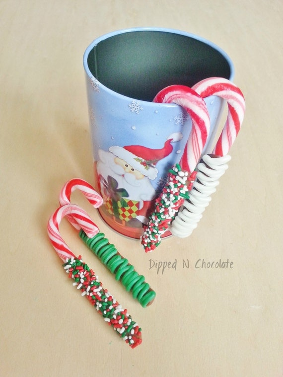 Chocolate Covered Candy Canes in a Christmas Tin