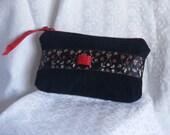 Black Zippered Clutch Small Pouch Black Corduroy Clutch