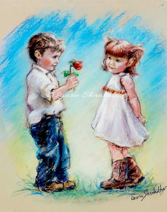 Couple Sweethearts Cute Children Archival By Laurieshanholtzer