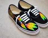 Rasta Dream Catcher Vans - Custom Hand Painted Black Vans Authentic Shoes, Painted Feather Vans Sneakers