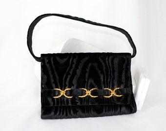Rodo Black Velvet Textured Purse Handbag Clutch Removable Strap