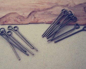 200 pcs  Antique bronze eye pins 22mm