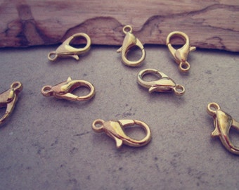 50pcs  gold color lobster Clasps 6mmx12mm