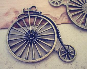 5pcs Antique bronze  Wheel pendant Charms 46mmx52mm