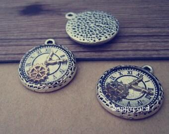 6pcs Antique Silver clock Pendant  Charms 21mm