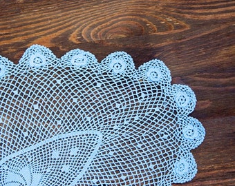 Light blue hand dyed Crochet Vintage oval Doily