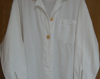 vintage white  'Mill Valley Cotton' long sleeve  shirt style jacket - cotton/tencel -  size medium