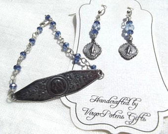 Blessed Virgin Mary Rosary Bracelet Sterling with Blue Crystals