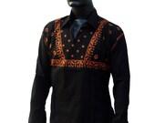 Handmade mens Black shirt beach wedding Lounge wear kurta pattern Anniversary gifts for men hippie clothes bollywood dress linen tunic tops