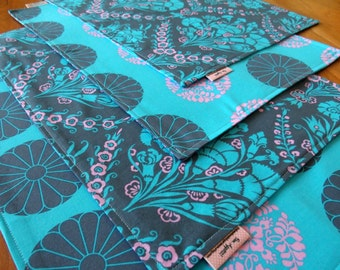 Aqua Blue, Pink, and Slate Gray Reversible Placemats, Amy Butler Cameo